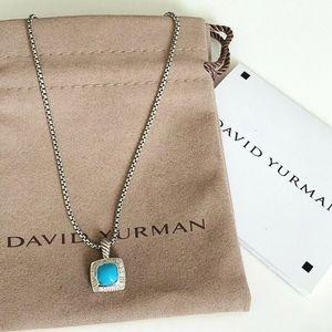 "David Yurman 7x7mm turquoise Albion Necklace 17"""